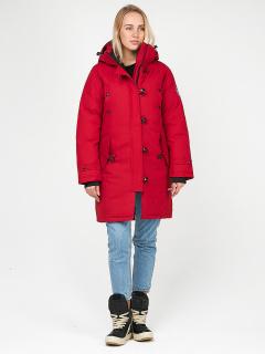 Купить оптом женскую зимнюю парку малинового цвета в интернет магазине MTFORCE 1806M