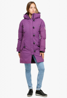 Купить оптом куртку парку зимнюю женскую фиолетового цвета 1802F в интернет магазине MTFORCE.RU