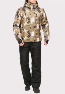 Купить оптом костюм горнолыжный мужской коричневого цвета 018108K в интернет магазине MTFORCE.RU