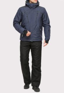 Купить оптом костюм горнолыжный мужской темно-синего цвета 018109TS в интернет магазине MTFORCE.RU