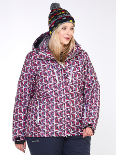 Купить оптом куртку горнолыжную женская большого размера малинового цвета 18112M в интернет магазине MTFORCE.RU