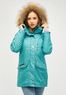 Купить оптом женскую зимнюю парку бирюзового цвета в интернет магазине MTFORCE 18113-1Br