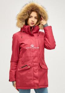 Купить оптом женскую зимнюю парку малинового цвета в интернет магазине MTFORCE 18113-1m