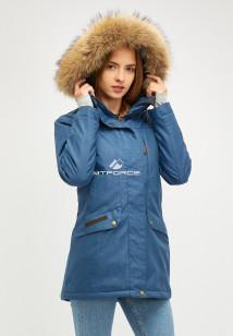 Купить оптом женскую зимнюю парку голубого цвета в интернет магазине MTFORCE 18113-1gl