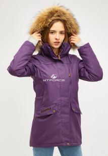 Купить оптом женскую зимнюю парку фиолетового цвета в интернет магазине MTFORCE 18113-1f