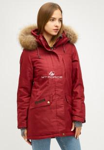 Купить оптом женскую зимнюю парку бордового цвета в интернет магазине MTFORCE 18113-1bo