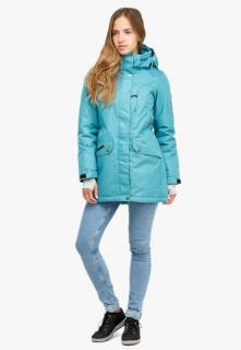 Купить оптом женскую зимнюю парку большого размера бирюзового цвета в интернет магазине MTFORCE 19001Br