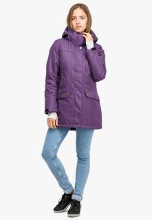 Купить оптом женскую зимнюю парку большого размера фиолетового цвета в интернет магазине MTFORCE 19001F