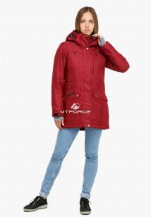 Купить оптом женскую зимнюю парку большого размера бордового цвета в интернет магазине MTFORCE 19001Bo