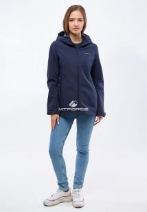 Купить оптом женскую осеннюю весеннюю ветровку softshell темно-синего цвета в интернет магазине MTFORCE 1816-1TS