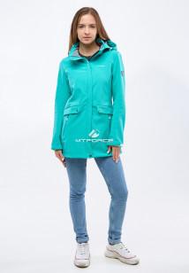 Купить оптом женскую осеннюю весеннюю ветровку softshell бирюзового цвета в интернет магазине MTFORCE 18125Br