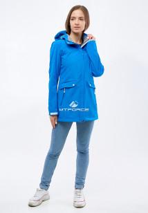 Купить оптом женскую осеннюю весеннюю ветровку softshell синего цвета в интернет магазине MTFORCE 18125S