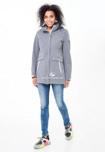 Купить оптом женскую осеннюю весеннюю ветровку softshell серого цвета в интернет магазине MTFORCE 18125Sr