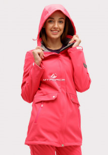 Купить оптом ветровку softshell женская розового цвета 18125R в интернет магазине MTFORCE.RU