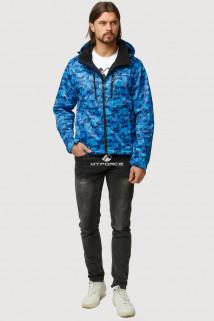 Купить оптом ветровку softshell мужскую осень весна синего цвета 1817S в интернет магазине MTFORCE.RU