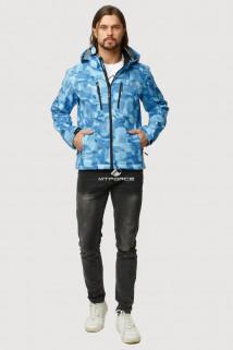 Купить оптом ветровку softshell мужскую осень весна голубого цвета 1817Gl в интернет магазине MTFORCE.RU