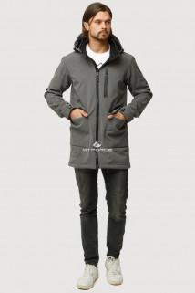 Купить оптом ветровку парку softshell мужскую осень весна серого цвета 1818Sr в интернет магазине MTFORCE.RU