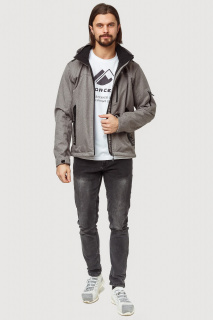 Купить оптом ветровку softshell мужскую осень весна серого цвета 1819Sr в интернет магазине MTFORCE.RU