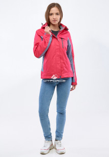 Купить оптом женскую осеннюю весеннюю спортивную куртку малинового цвета в интернет магазине MTFORCE 1820M
