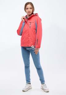 Купить оптом женскую осеннюю весеннюю спортивную куртку розового цвета в интернет магазине MTFORCE 1820R