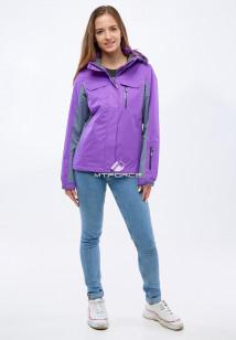 Купить оптом женскую осеннюю весеннюю спортивную куртку фиолетового цвета в интернет магазине MTFORCE 1820F