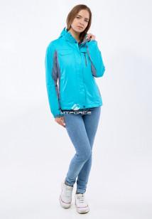 Купить оптом женскую осеннюю весеннюю спортивную куртку голубого цвета в интернет магазине MTFORCE 1820Gl