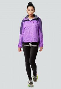 Купить оптом женскую осеннюю весеннюю спортивную куртку фиолетового цвета в интернет магазине MTFORCE 1821F