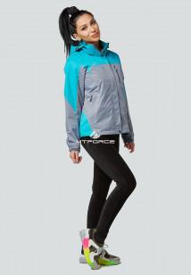 Купить оптом женскую осеннюю весеннюю спортивную куртку серого цвета в интернет магазине MTFORCE 1821Sr