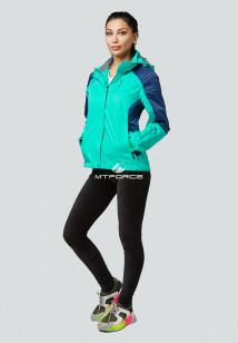 Купить оптом женскую осеннюю весеннюю спортивную куртку зеленого цвета в интернет магазине MTFORCE 1822Z