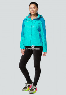 Купить оптом женскую осеннюю весеннюю спортивную куртку голубого цвета в интернет магазине MTFORCE 1822Gl