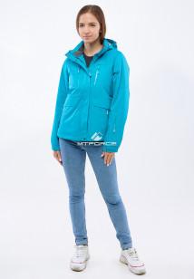 Купить оптом женскую осеннюю весеннюю спортивную куртку голубого цвета в интернет магазине MTFORCE 1825Gl