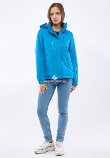 Купить оптом женскую осеннюю весеннюю спортивную куртку синего цвета в интернет магазине MTFORCE 1825S