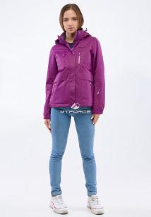 Купить оптом женскую осеннюю весеннюю спортивную куртку фиолетового цвета в интернет магазине MTFORCE 1825F