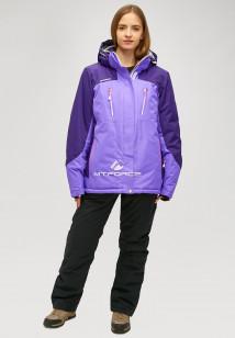 Горнолыжный костюм женский зимний большого размера фиолетового цвета купить оптом в интернет магазине MTFORCE 01850f
