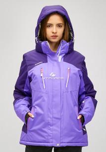 Купить оптом женскую зимнюю горнолыжную куртку большого размера фиолетового цвета в интернет магазине MTFORCE 1850f