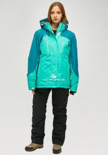Горнолыжный костюм женский зимний большого размера зеленого цвета купить оптом в интернет магазине MTFORCE 01850z