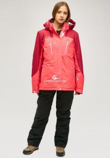 Горнолыжный костюм женский зимний большого размера розового цвета купить оптом в интернет магазине MTFORCE 01850r