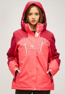 Купить оптом женскую зимнюю горнолыжную куртку большого размера розового цвета в интернет магазине MTFORCE 1850r