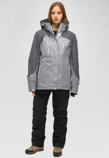 Горнолыжный костюм женский зимний большого размера серого цвета купить оптом в интернет магазине MTFORCE 01850sr