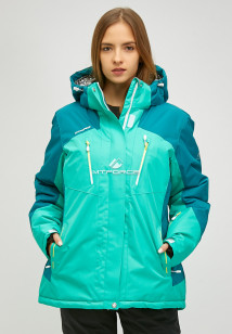 Купить оптом женскую зимнюю горнолыжную куртку большого размера зеленого цвета в интернет магазине MTFORCE 1850z