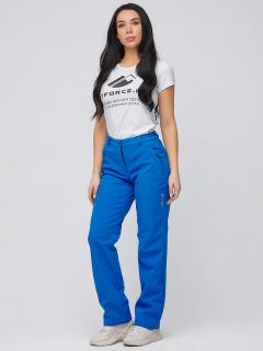 Купить оптом брюки женские из ткани softshell синего цвета 1851S в интернет магазине MTFORCE.RU