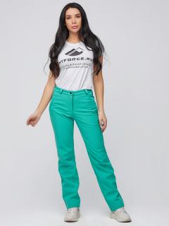 Купить оптом брюки женские из ткани softshell бирюзового цвета 1851Br в интернет магазине MTFORCE.RU