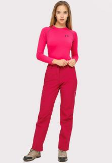 Купить оптом брюки женские большого размера из ткани softshell бордового цвета  1852-1Bo в интернет магазине MTFORCE.RU