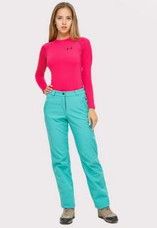 Купить оптом брюки женские большого размера из ткани softshell бирюзового цвета  1852-1Br в интернет магазине MTFORCE.RU