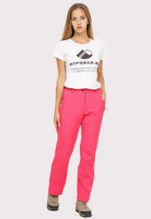 Купить оптом брюки женские из ткани softshell розового цвета 1851R в интернет магазине MTFORCE.RU