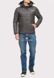 Купить оптом куртку мужскую стеганную темно-серый цвета 1858TC в интернет магазине MTFORCE.RU