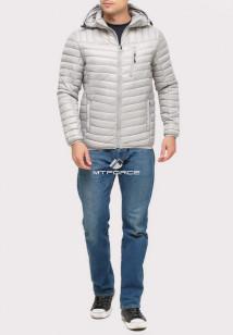 Купить оптом куртку мужскую стеганную светло-серого цвета 1858SS в интернет магазине MTFORCE.RU