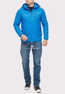 Купить оптом куртку мужскую стеганную голубого цвета 1858G в интернет магазине MTFORCE.RU