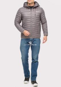 Купить оптом куртку мужскую стеганную серого цвета 1858Sr в интернет магазине MTFORCE.RU