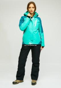 Горнолыжный костюм женский зимний зеленого цвета купить оптом в интернет магазине MTFORCE 01861Z
